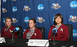 08 December 2007: Kirsten van de Ven (NED) (l), Amanda DaCosta (center), and Mami Yamaguchi (JPN) (r). The Florida State University Seminoles held a press conference at the Aggie Soccer Stadium in College Station, Texas one day before playing in the NCAA Division I Womens College Cup championship game.