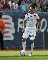 C.D. Olimpia midfielder Reynaldo Tilguath (8) looks to pass. In an international friendly, AC Milan defeated C.D. Olimpia, 3-1, at Gillette Stadium on August 4, 2012.