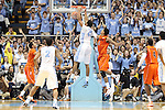 02 February 2013: North Carolina's James Michael McAdoo (43) dunks the ball past Virginia Tech's Jarell Eddie (31). The University of North Carolina Tar Heels played the Virginia Tech Hokies at the Dean E. Smith Center in Chapel Hill, North Carolina in an NCAA Division I Men's college basketball game. UNC won the game 72-60 after overtime.