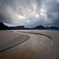 Haukland beach with stormy sky, Vestvagoy, Lofoten Islands, Norway