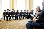 Waterbury, CT- 21 April 2017-042117CM05-  Police officers from Waterbury were promoted during a ceremony at the City Hall on Friday.  Included in the ceremony were: Assistant Deputy Chief Edward Apicella, Captains Robert Maxwell, Lawrence Hunter and Michael Ponzillo;  Lieutenants Jeremy Desena and Gary Angon; Sergeants Ryan Bessette, Nadine Amatruda, Michael Sobol, Tierone Touponse, Marc Fortini, Paul Calo, Jason Prescott and Frank Laone Jr.       Christopher Massa Republican-American