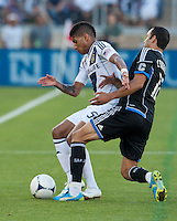 Stanford, California - Saturday June 30, 2012: Sean Franklin and Ramon Corrales in action during a game at Stanford Stadium, Stanford, Ca.San Jose Earthquakes defeated Los Angeles Galaxy,  4 to 3