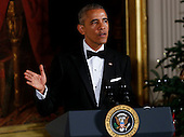 United States President Barack Obama delivers remarks at the Kennedy Center Honors Reception in the East Room of the White House, December 4, 2016, Washington, DC.  The 2016 honorees are: Argentine pianist Martha Argerich; rock band the Eagles; screen and stage actor Al Pacino; gospel and blues singer Mavis Staples; and musician James Taylor.<br /> Credit: Aude Guerrucci / Pool via CNP