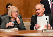 United States Senator Lamar Alexander (Republican of Tennessee), right, Chairman, US Senate Committee on Health, Education, Labor and Pensions, right and US Senator Patty Murray (Democrat of Washington), left, have a discussion prior to the hearing considering the confirmation of Betsy DeVos of Grand Rapids, Michigan to be US Secretary of Education on Capitol Hill in Washington, DC on Tuesday, January 17, 2017.<br /> Credit: Ron Sachs / CNP