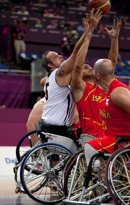 LONDON, ENGLAND 09/05/12: Yvon Rouillard competes in the Men's Wheelchair Basketball quarter-final CAN vs. ESP at the London 2012 Paralympic Games at the North Greenwich Arena (Photo by: Wheelchair Basketball Canada/Canadian Paralympic Committee)