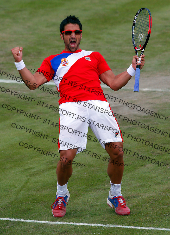 Olympic games London 2012.Tennis tournament.Janko Tipsarevic SRB v Philipp Petzschner GER.Janko Tipsarevic reacts.London, 30.07.2012..foto: Srdjan Stevanovic/Starsportphoto ©