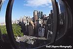 View of Manhattan skyline from the 65th floor ballroom of the Mandarin Oriental Hotel..