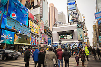 The Fox Sports broadcast headquarters in the middle of Times Square on Super Bowl Boulevard in Midtown Manhattan in New York on Sunday, January 26, 2014. Despite the game being held in New Jersey on February 2 sports fans are expected to pack New York to take part in the multitude of activities planned around the game including the 13 block stretch of Broadway, running from 34th street through 47th street that will host Super Bowl Blvd. from January 29 to February 1. (© Richard B. Levine)