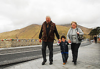 The Joyces crossing the new bridge in Leenaun...Pic Conor McKeown