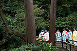 "A priest and maiko attendants release bell crickets that have been dedicated to the shrine ""kami"" (gods) during the suzumushi-hojosai rite that marks the end of the  3-day Reitaisai festival in Kamakura, Japan on  14 Sept. 2012.  The ritual is observed in order to recognize the preciousness of life, releasing the insects by a pond inside the shrine grounds. Photographer: Robert Gilhooly.."