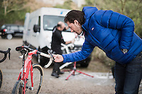 Fabian Cancellara (SUI) snapping a pic of the latest Trek Madone after the race<br /> <br /> 11th Strade Bianche 2017