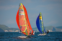 20120604, Weymouth, England: SKANDIA SAIL FOR GOLD 2012 - The waters of Weymouth Bay and Portland Harbour will be filled with the stars of sailing over the next couple of weeks as the team?s training camps at the 2012 Olympic venue turn serious with the final pre-event - Skandia Sail for Gold. The 523 entries from 59 nations features 723 athletes and 249 coaches. PHOTO: Mick Anderson/SAILINGPIX.DK