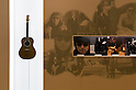 SAITAMA - DEC. 5: Photos of John Lennon and Yoko Ono beside one of the singer's guitars; part of a display at the John Lennon Museum.  (Photo by Alfie Goodrich/Nippon News)
