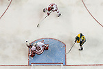 ST CHARLES, MO - MARCH 19:  Ann-Renée Desbiens (30) of the Wisconsin Badgers make a save during the Division I Women's Ice Hockey Championship held at The Family Arena on March 19, 2017 in St Charles, Missouri. Clarkson defeated Wisconsin 3-0 to win the national championship. (Photo by Mark Buckner/NCAA Photos via Getty Images)