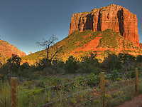 A view of Courthouse Rock at sunset, Sedona, AZ