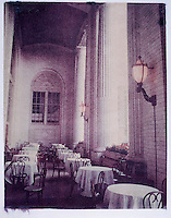 Polaroid transfer outdoor patio restaurant, greek style columns, bent cane chairs