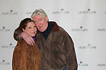 """David Butler who was in Days of our Lives and One Life to Live poses with his wife Anna as he stars as """"W. Harrison Brent"""" in  Perfect Crime - 30th Anniversary off-Broadway on April 18, 2017 at Bernstein Theatre, New York City, New York. (Photo by Sue Coflin/Max Photos)"""