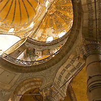 The ceiling of domes of the legendary landmark Hajia Sofia, know as Aya Sofia. It has been a place for worship through out different eras. It was transferred from a church to a mosque during the golden ages of the Islamic Empire. However, it is now a destination for tourists from around the world stating the overlapping of cultures and religions. It is footprint of a sustainable architecture.