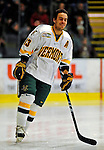 23 January 2009: University of Vermont Catamount forward Corey Carlson, a Senior from Two Harbors, MN, warms up prior to facing the University of Massachusetts Minutemen in the first game of a weekend series at Gutterson Fieldhouse in Burlington, Vermont. The Catamounts defeated the visiting Minutemen 2-1. Mandatory Photo Credit: Ed Wolfstein Photo