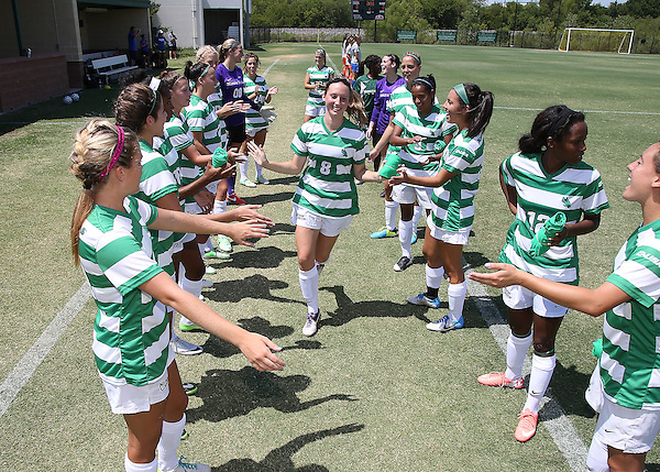 DENTON, TX- AUGUST 25: Leah Cox #8 of the North Texas Mean Green - Houston Baptist vs North Texas Mean Green Soccer team at Mean Green Village Soccer Field in Denton on August 25, 2013 in Denton, Texas. Photo by Rick Yeatts