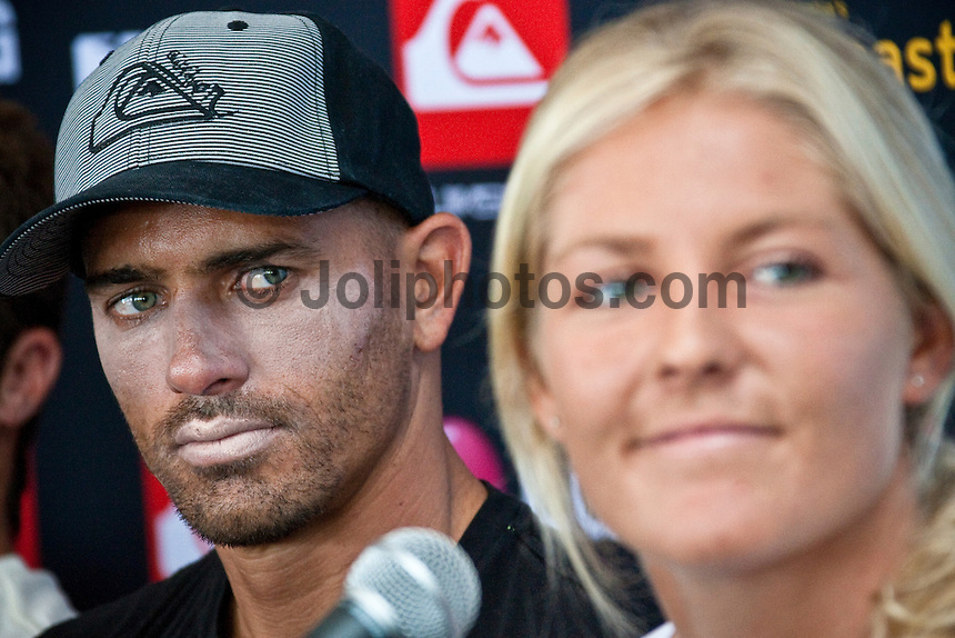 "COOLANGATTA, Australia (Thursday, February 26, 2009) - Current world surfing champions KELLY SLATER (USA)  and STEPHANIE GILMORE (AUS)  at the Quiksilver Pro press conference...The world's best surfers are gearing up for the opening event of the 2009 ASP World Tour, the Quiksilver Pro Gold Coast presented by LG Mobile, at Snapper Rocks from February 28 through March 11, 2009.. .Event No. 1 of 10 on the 2009 ASP World Tour, the Quiksilver Pro Gold Coast will see the return of reigning and nine-time ASP World Champion Kelly Slater (USA), 36, in his bid for an unprecedented tenth crown, but a swath of the world's top talents will be standing in his way.  Slater (Florida, USA) looks relaxed and confident heading into this weekend's Quiksilver Pro presented by LG Mobile...The defending Quiksilver Pro champion, who was on hand at Snapper Rocks today for the official press launch, declared he'll almost certainly challenge for an unprecedented 10th ASP world title...""I think I'm pretty relaxed about it,"" said Slater...""I'll probably have a few nerves to start. But once you hit the water and start surfing you stop thinking about the big picture."" .The event will get underway on Saturday 28th February, conditions permitting..Photo: joliphotos.com"