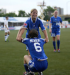 13 July 2003: Dagny Mellgren (behind) helps Maren Meinert (6) up after Meinert assisted on Mellgren's second goal of the game. The Boston Breakers defeated the Philadelphia Charge 3-1 at Boston University's Nickerson Field in Boston, MA in a regular season WUSA game..Mandatory Credit: Andy Mead/Icon SMI