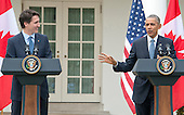 United States President Barack Obama, right, and Prime Minister Justin Trudeau of Canada, left, hold a joint press conference in the Rose Garden of the White House in Washington, DC on Thursday, March 10, 2016. <br /> Credit: Ron Sachs / CNP