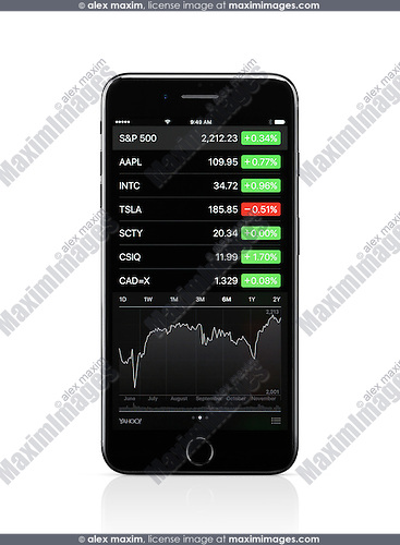 Apple iPhone 7 Plus with with stock market app on its display isolated on white background with clipping path
