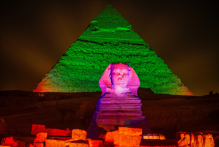 The Sphinx and the Pyramid of Khafre (Chephren), Giza (outside Cairo), Egypt