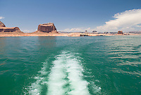rear view of propeller thrust from top deck of houseboat, lake Powell