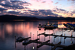 Idaho, Coeur D Alene. Pink sunset over the 4th ST docks on Lake Coeur D Alene.