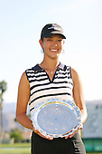 March 28, 2004; Rancho Mirage, CA, USA;  14 year old amateur Michelle Wie poses with her trophy for low amateur after the final round of the LPGA Kraft Nabisco golf tournament held at Mission Hills Country Club.  Wie finished the day with a 1 under par 71.  Her overall score of 7 under par 281 was good enough for 4th place overall.<br />