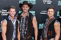 HOLLYWOOD, LOS ANGELES, CA, USA - OCTOBER 06: David F. Harris, Alex Biffin, Dylan Yeandle, Thunder from Down Under arrive at the World Premiere Of Disney's 'Alexander And The Terrible, Horrible, No Good, Very Bad Day' held at the El Capitan Theatre on October 6, 2014 in Hollywood, Los Angeles, California, United States. (Photo by Xavier Collin/Celebrity Monitor)