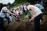 Nermin (19) and Samir (23) Selimovic who were killed during the 1995 Srebrenica massacre are laid to ground next to their father's grave who had been identified a year earlier.
