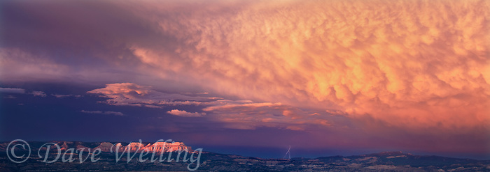 9040000145 a summer thunderstorm breaks over the paunsaugunt plateau at sunset in this panoramic view of  bryce canyon national park utah from bryce point lookout