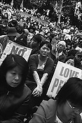 Anti-Iraq war(2003) demonstration held in Hibiya Park, in the upmarket area of Ginza, Tokyo, Japan.