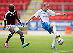 St Johnstone v Hearts...03.08.14  Steven Anderson Testimonial<br /> David Clarkson and Morgaro Gomis<br /> Picture by Graeme Hart.<br /> Copyright Perthshire Picture Agency<br /> Tel: 01738 623350  Mobile: 07990 594431