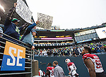 Seattle Seahawks fan Rob Larsen taunts the Arizona Cardinals  at CenturyLink Field in Seattle, Washington on December 22, 2013.    The Cardinals beat the Seahawks 17-10.  ©2013. Jim Bryant Photo.  ALL RIGHTS RESERVED.