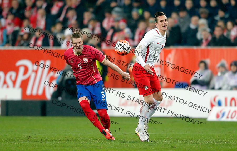 Slobodan Rajkovic Poljska - Srbija prijateljska, Poland - Serbia friendly football match, March 23. 2016. Poznan  (credit image & photo: Pedja Milosavljevic / STARSPORT)