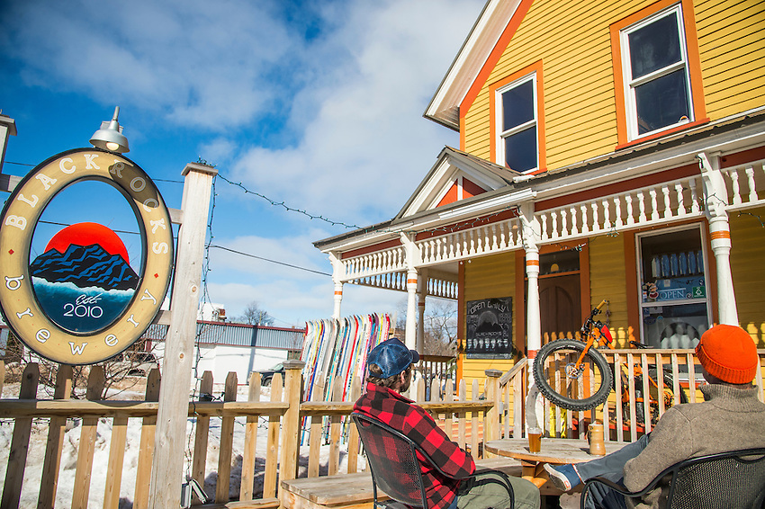 Bike culture and beer culture meet at Blackrocks Brewery in Marquette, Michigan on a sunny winter day.