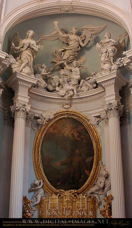 Lancellotti Chapel Altar Stucco Angels and Putti Giovanni Antonio de Rossi 1680 Altarpiece St. Francis Receives the Stigmata Giovanni Battista Puccetti St John in Lateran Rome
