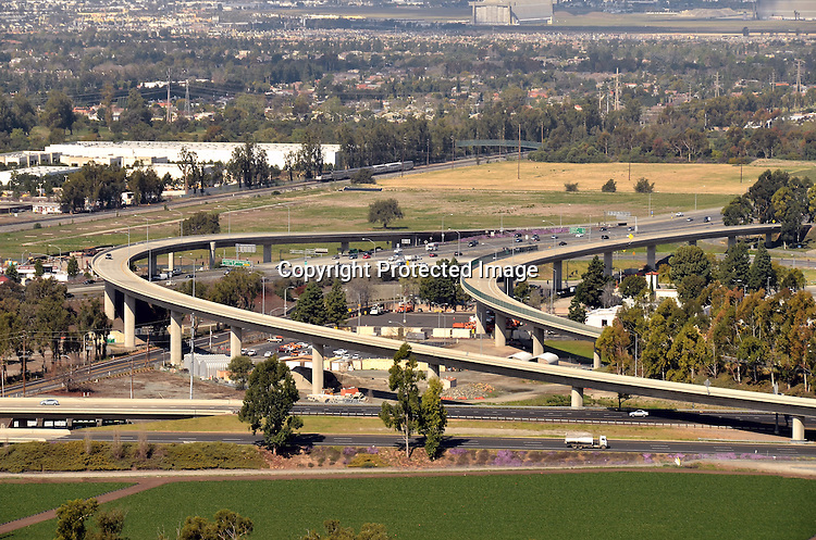 Aerial view of Interstate 5 and toll road stock photo