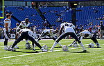 19 October 2008:  San Diego Chargers stretch during pre-game warm-ups prior to facing the Buffalo Bills at Ralph Wilson Stadium in Orchard Park, NY. The Bills defeated the Chargers 23-14 and maintain their first place position in the AFC East with a 5 and 1 record...Mandatory Photo Credit: Ed Wolfstein Photo