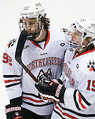 Joseph Manno (NU - 92), Kevin Roy (NU - 15) - The Northeastern University Huskies defeated the visiting Merrimack College Warriors 4-2 (EN) on Wednesday, October 10, 2012, at Matthews Arena in Boston, Massachusetts.