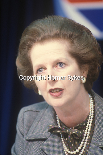 Mrs Margaret Thatcher 1983 General Election press conferance London UK 1980s.