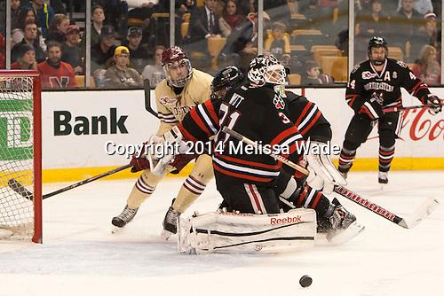 Brendan Silk (BC - 9), Clay Witt (NU - 31) - The Boston College Eagles defeated the Northeastern University Huskies 4-1 (EN) on Monday, February 10, 2014, in the 2014 Beanpot Championship game at TD Garden in Boston, Massachusetts.