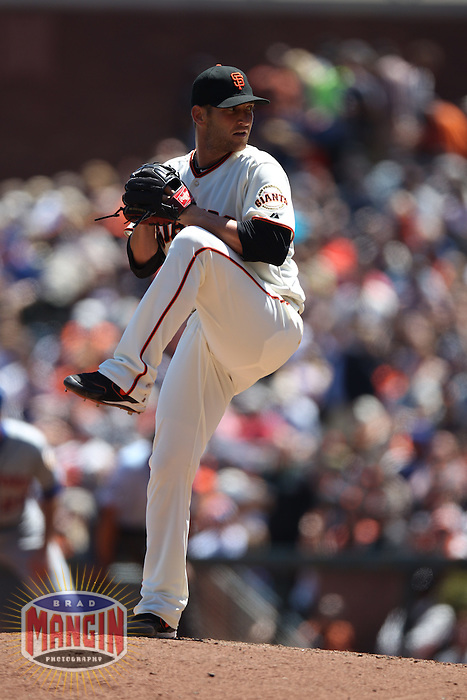 SAN FRANCISCO, CA - AUGUST 2:  Shane Loux #61 of the San Francisco Giants pitches against the New York Mets during the game at AT&T Park on Thursday, August 2, 2012 in San Francisco, California. Photo by Brad Mangin
