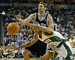 San Antonio Spurs Brent Barry , back, battles for a loose ball with Seattle SuperSonics Ray Allen, front, in the second period of their  Western Conference Semifinals Game 3 in Seattle, Washington on Tuesday, 12 May 2005.   Jim Bryant Photo. &copy;2010. All Rights Reserved.