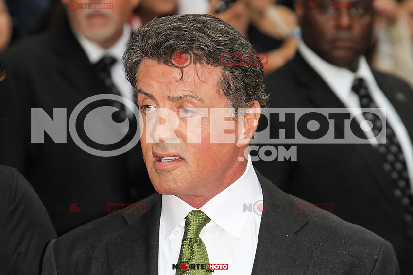 LONDON - AUGUST 13: Sylvester Stallone attended the UK Film Premiere of 'The Expendables 2', Leicester Square, London, UK. August 13, 2012. (Photo by Richard Goldschmidt) /NortePhoto.com<br />