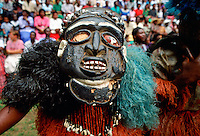 Tribal dancer in mask at festival in Cameroon, West Africa RESERVED USE - NOT FOR DOWNLOAD -  FOR USE CONTACT TIM GRAHAM